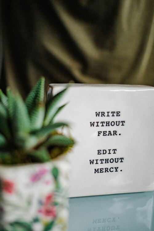 Write without fear, edit without mercy quote